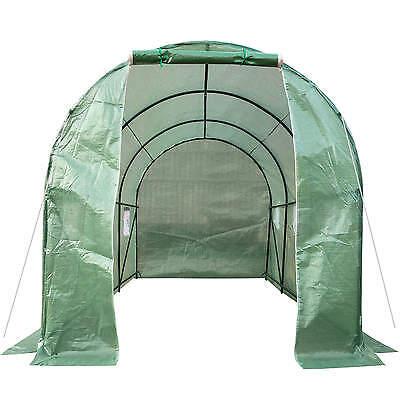Serre tunnel de jardin 6 fenetres bâche verte maraîchère metal serres PE 7m² 3
