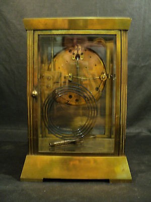 "Antique Seth Thomas ""Empire"" Brass Crystal Regulator Clock, Unusual Pendulum 8"