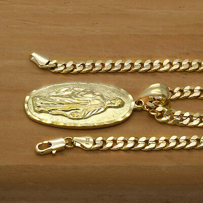 """Mens 18k Gold Plated  Oval Guadalupe Pendant 5mm 24"""" Cuban Necklace Chain(H) 3"""