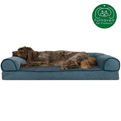 FurHaven Pet Faux Fleece & Chenille Soft Woven Sofa Dog Bed 8