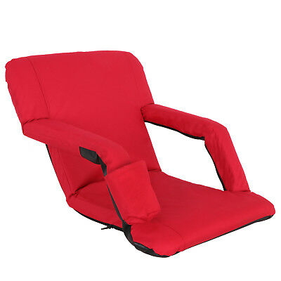 Portable Stadium Seat Chair, Reclining Bleacher Seat Red w/ 5 Assorted Positions 5