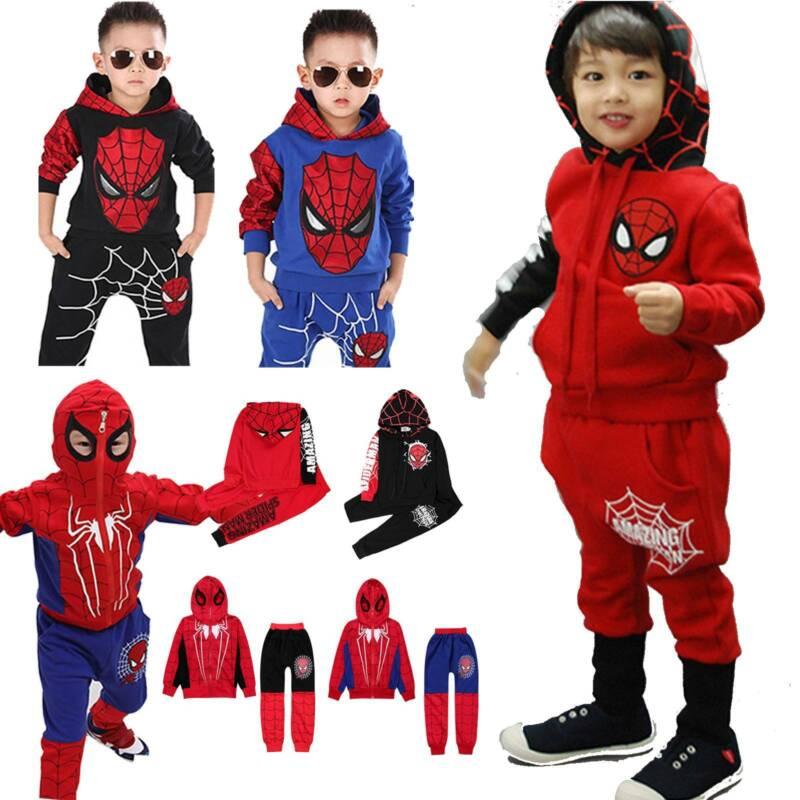 Pants Sweatshirt Outfit Sets UK Kids Casual Spiderman Sports Tracksuit Hoodies