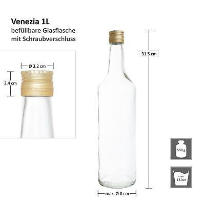 12er Set Glasflaschen 1L 1000ml Weinflaschen Likör Flaschen Schraubverschluss 7