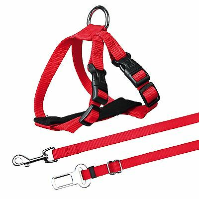 Trixie Cat Car Harness Attaches To Seat Belt Lock RED 1294 3