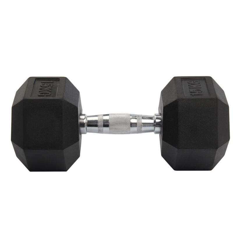 2X 8-15KG Rubber Encased Dumbbell Hex Weights Gym Fitness/Workout/Weight Lifting 6