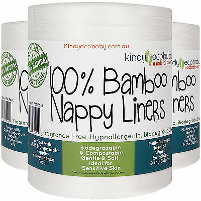 1320 Bamboo Flushable, Diaper Nappy Liners, Natural, Disposable 6 Rolls 12
