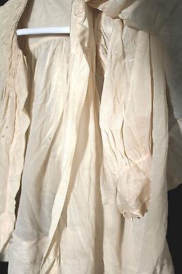 Antico Francese Edwardian 1900-1919 Crema Seta Crepe Vestito Taglia 6-12M 3
