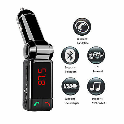 Wireless Bluetooth Car Kit FM Transmitter Handsfree Car Charger MP3 Player USB 3