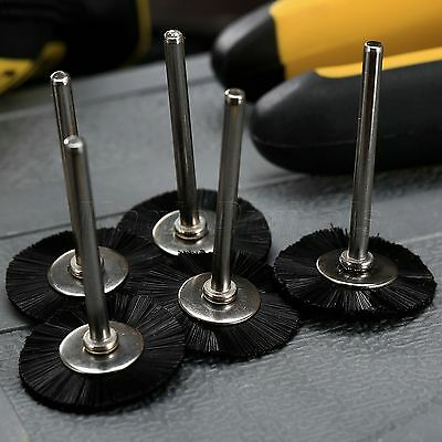 "5Pc 25mm Black Nylon Bristle Wheel Wire Brush 1/8"" Shank For Grinder Rotary Tool 2"
