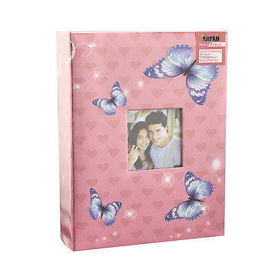 """6x4"""" 200 Photos Large Slip in Photo Album with front Window - Pink Butterfly 2"""