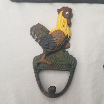 3 Cast Iron ROOSTER CHICKEN Kitchen Wall TOWEL Key HOOKS Farm Ranch Rustic Decor 4