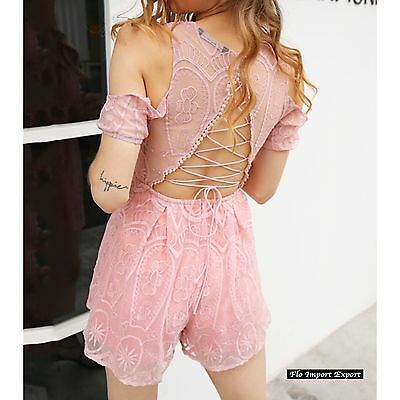 Tuta Pantaloncini Donna Copricostume Casual Woman Shorts Jumpsuit 660016 P