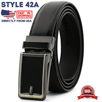 Men's Genuine Leather Adjustable Automatic Buckle Ratchet Golf Dress Belt 5