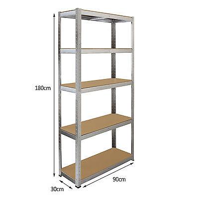4 x Storage Shelving Garage Racking Heavy Duty 5 Tier Boltless Bays MDF Shelves 8