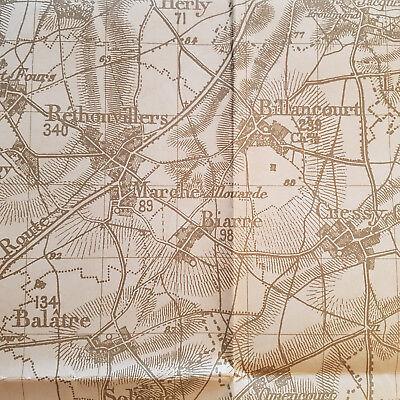 alte Landkarte WK1 Deutsche Stellv. Generalstabes Karte von Laon 1915