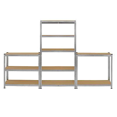 4 x Storage Shelving Garage Racking Heavy Duty 5 Tier Boltless Bays MDF Shelves 7