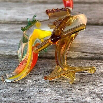 "VTG Italian Murano Art Glass Miniature Animal Figurine Cock Cockerel 4""/10cm 9"