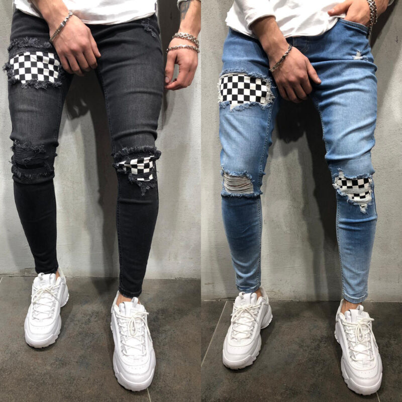 Mens Boys Stretch Skinny Ripped Jeans Biker Frayed Denim Leisure Tight Trousers 3