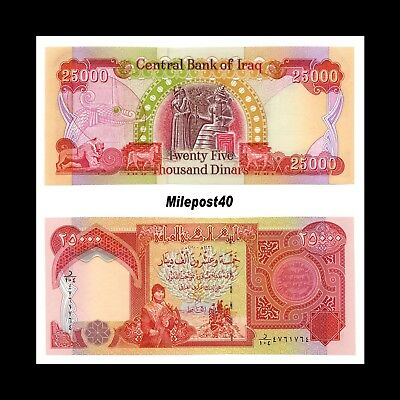 Iraqi Dinar Banknotes, 100,000 Lightly Circulated 4 x 25,000! (100000) Fast Ship 2