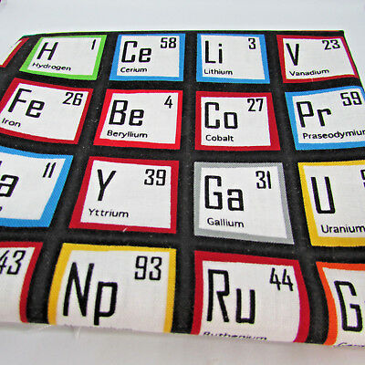 Science fair periodic table 100% cotton fabric by Robert Kaufman per FQT 4