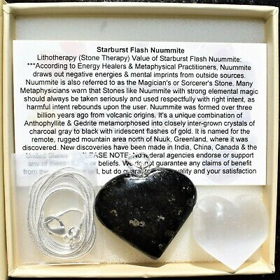 "CHARGED Starburst Flash Nuummite Crystal HEART Perfect Pendant™ + 20"" Chain 5"