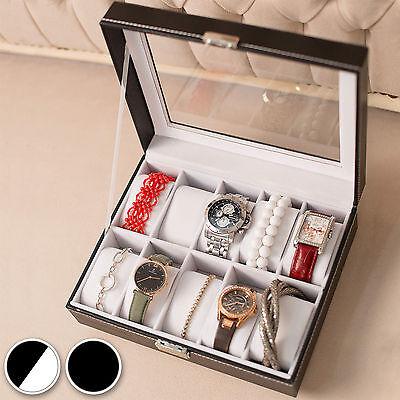 Uhrenbox Uhrenkoffer für 10 Uhren Uhrentruhe Uhrenkasten Uhrenschatulle schwarz
