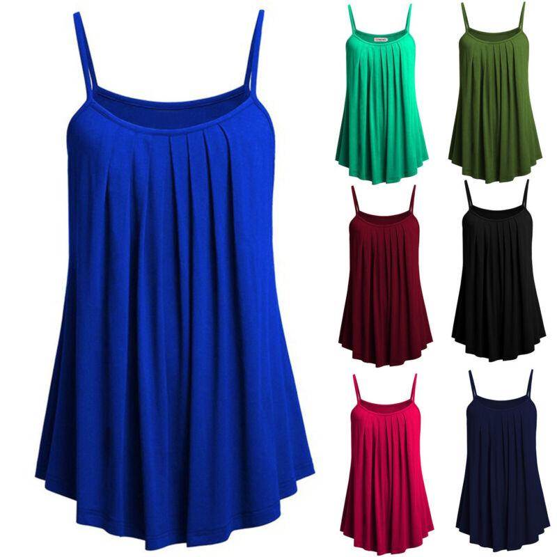 Boho Womens Ladies Cami Vest Swing Pleated Sleeveless Tank Tops Dress Size 8-24 2