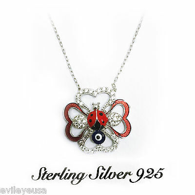 925 Sterling Silver Lady Bug Pendant Women's Evil Eye Necklace #9922 2