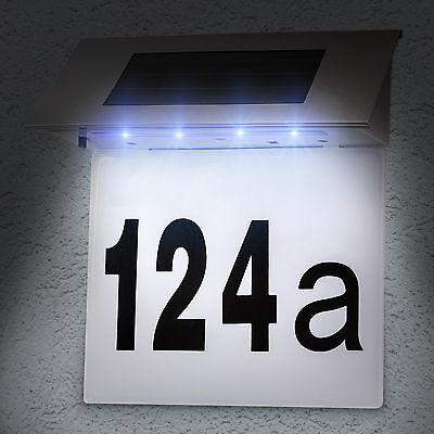 Numéro de maison énergie solaire 4 led lumineux acier inox extérieur éclairage 2