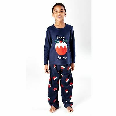 Kids Happy Christmas Fleece Pyjamas Pyjama PJs Boys/Girls Navy Age 5-13 Years 3