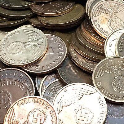 50 Coin Lot Rare WW2 German 1 RP Reichspfennig 3rd Reich Bronze Nazi Coins 2