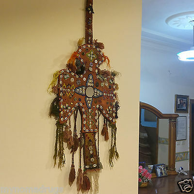 Rare 1'4''x3'3'' Antique 1900-1930s Tribal Ceremonial Wall Hanging Turkey 7