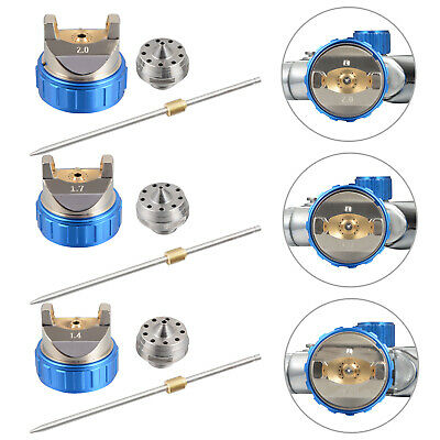 HVLP Spritzpistole Lackierpistole Spraypistole 1.4mm 1.7mm 2.0mm Rostfrei Düsen 9