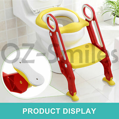 Kids Toilet Seat Ladder Baby Toddler Potty Training Step Trainer Non Slip Safety 4
