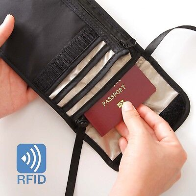 RFID Blocking Neck Stash Pouch Travel Wallet Holder Bag Money Cord Passport Hold 4