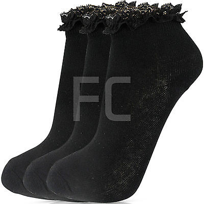 New Womens Girls 3 Multi Pack Lace Top Frilly  Ankle Trainer Socks School Size 3