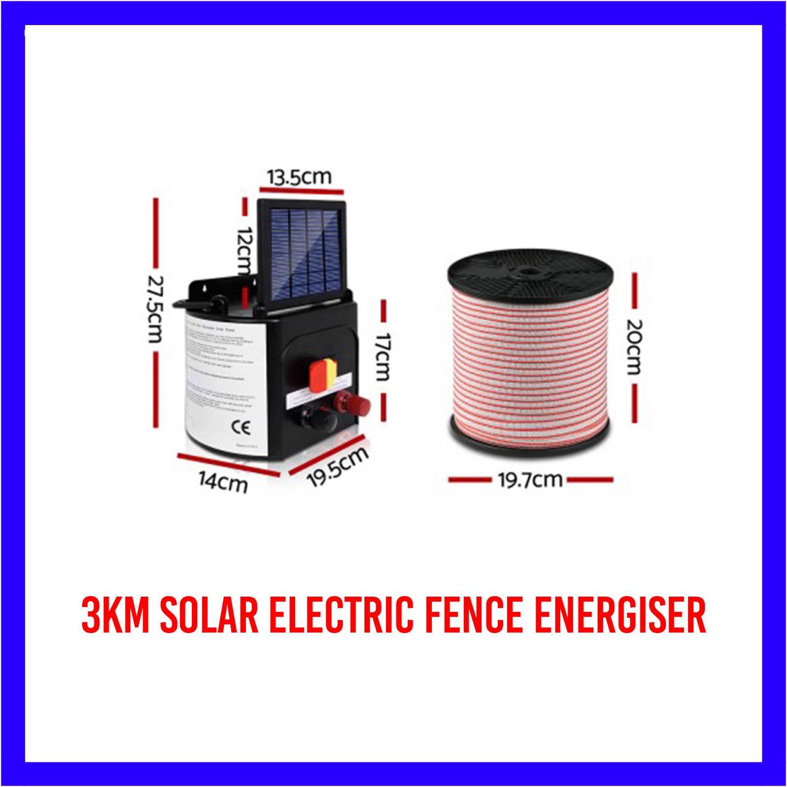 3km Solar Electric Fence Energiser/Charger Kit 400m Tape 25 Insulators and Sign 10