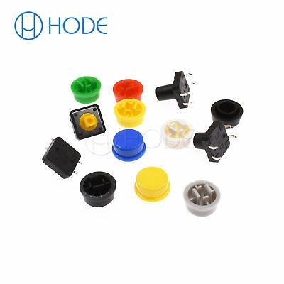 Momentary Tactile Push Button Touch Micro Switch 4P PCB Caps 12x12x7.3mm-12mm UK 5