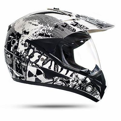 enduro helm mit visier wei l ece war crosshelm quad motorradhelm motocrosshelm eur 79 95. Black Bedroom Furniture Sets. Home Design Ideas