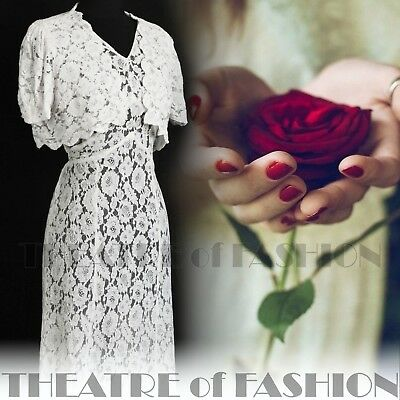 DRESS 30s WEDDING LACE JACKET 20s VINTAGE 40s GATSBY DECO CROCHET GODDESS ICON 9
