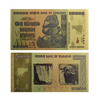 KL 100pcs Gold 999999 Foil 100 Trillion Dollars Zimbabwe Banknote with rock COA