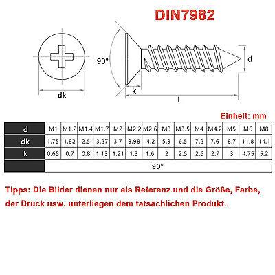 Blechschrauben DIN 7982 Senkkopf Schwarz Verzinkt M1 M1,2 M1,4 M1,7 M2 2,3 2,6 3