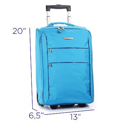 """Foldable Rolling 20"""" Bag Carry on Luggage Travel Lightweight Black Red Blue 2"""