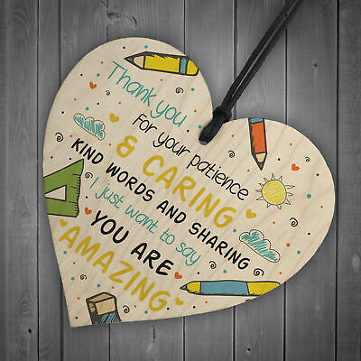 Gift For Teacher And Assistant Wooden Heart Nursery Thank You Gifts Leaving Gift 6