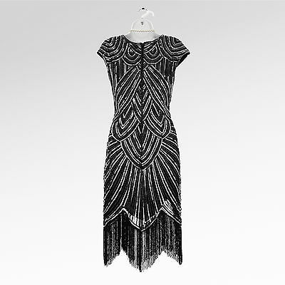 New 1920's gatsby vintage flapper charleston tassel sequin black dress UK 8-18