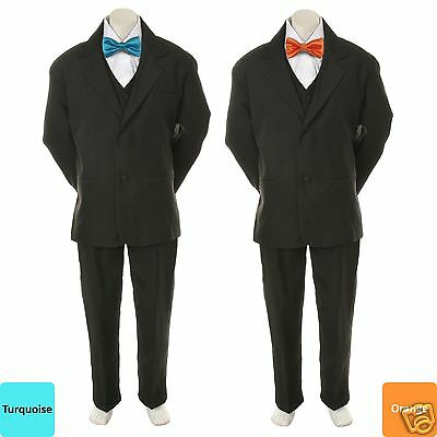 choose best crazy price stable quality 6PC COLOR BOW Tie + New Baby Toddler Boy Black Wedding Suit Tuxedo S-20 New  Teen