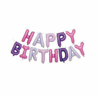 Happy Birthday Balloon Banner Bunting Self Inflating Letters Foil Balloons Party 10