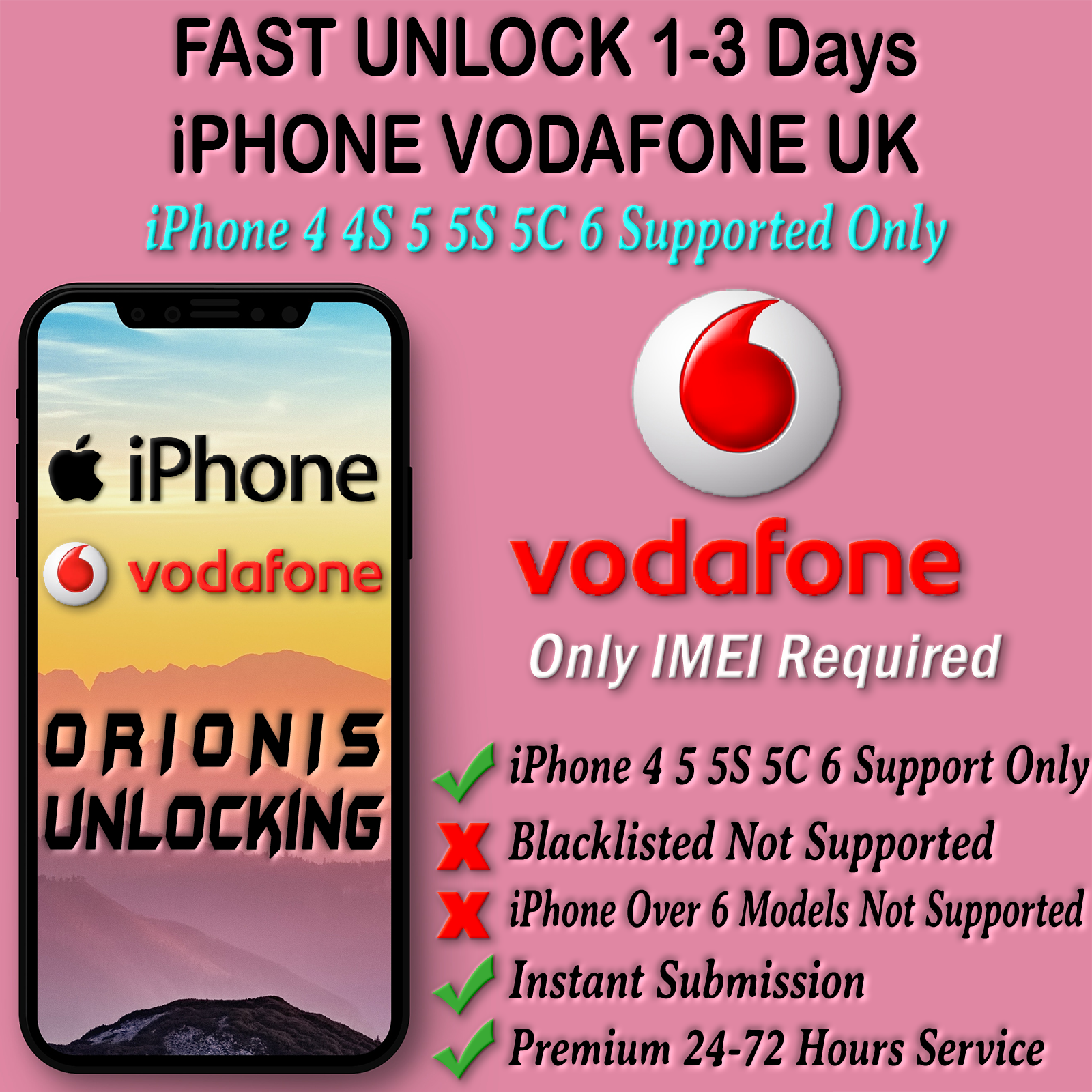 UNLOCK CODE SERVICE FOR iPhone 6 5S 5C 5 4S 4 Vodafone UK Fast Unlocking 1-48hrs 2