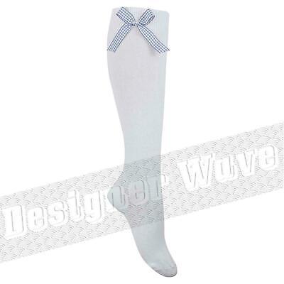 Girls Gingham Socks Knee High Bow Check Childrens White School Summer 1 3 6 Pair 4