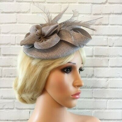Ladies Silver Grey Fascinator Sinamay Flower Feathers Wedding Races Ascot 2